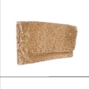 Moyna beaded clutch in champagne nude